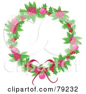 Royalty Free RF Clipart Illustration Of A Feminine Pink Rose Holly Berry And Pink Bauble Christmas Wreath