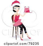 Royalty Free RF Clipart Illustration Of A Black Haired Christmas Woman Wearing A Santa Hat Sitting And Holding A Present by Melisende Vector