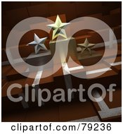 Royalty Free RF Clipart Illustration Of Three 3d Star Trophies On Brown Blocks by Frank Boston