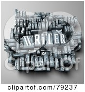 Royalty Free RF Clipart Illustration Of A 3d Group Of Typeset Blocks With WRITER In The Center Version 1
