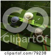 Royalty Free RF Clipart Illustration Of Three 3d Round Trophies On Green Blocks