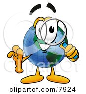 World Earth Globe Mascot Cartoon Character Looking Through A Magnifying Glass