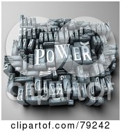 Royalty Free RF Clipart Illustration Of A 3d Group Of Typeset Blocks With POWER In The Center