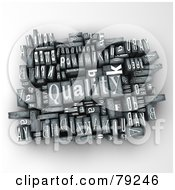 Royalty Free RF Clipart Illustration Of A 3d Group Of Typeset Blocks With QUALITY In The Center Version 1