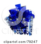 3d Blue And White Glass Cubic Floating Structure