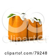 Royalty Free RF Clipart Illustration Of A Row Of Three 3d Orange Genetically Modified Juice Cartons