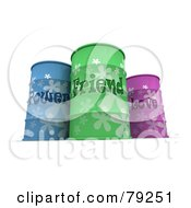 Royalty Free RF Clipart Illustration Of 3d Blue Green And Pink Power Friend And Love Barrels by Frank Boston