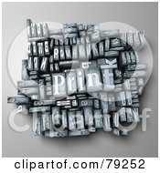 Royalty Free RF Clip Art Illustration Of A 3d Group Of Typeset Blocks With Print In The Center Version 3