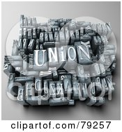 Royalty Free RF Clipart Illustration Of A 3d Group Of Typeset Blocks With UNION In The Center
