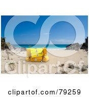 Royalty Free RF Clipart Illustration Of 3d Stacked Yellow Luggage On A Tropical Beach