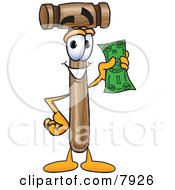 Clipart Picture Of A Mallet Mascot Cartoon Character Holding A Dollar Bill by Toons4Biz