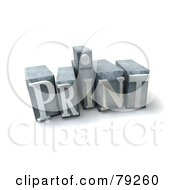 Royalty Free RF Clipart Illustration Of A 3d Typeset Word Print Version 5