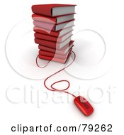 Royalty Free RF Clipart Illustration Of A Computer Mouse Connected To A Stack Of 3d Red Literature Text Books