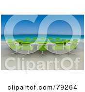 Royalty Free RF Clipart Illustration Of A Green 3d Conference Table On A Tropical Beach by Frank Boston