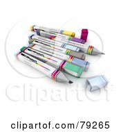 Royalty Free RF Clipart Illustration Of A Group Of Felt Tip 3d Markers Version 2 by Frank Boston