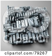 Royalty Free RF Clipart Illustration Of A 3d Group Of Typeset Blocks With Print In The Center Version 2