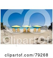Royalty Free RF Clipart Illustration Of Yellow 3d Shaded Beach Chairs On A Tropical Beach by Frank Boston