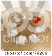 Royalty Free RF Clipart Illustration Of A 3d Group Of White Chairs With One Red Chair In A Room With Parquet Flooring by Frank Boston