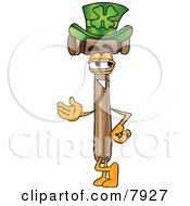 Mallet Mascot Cartoon Character Wearing A Saint Patricks Day Hat With A Clover On It