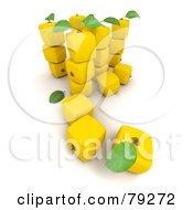 Royalty Free RF Clipart Illustration Of A 3d Group Of Yellow Cubic Genetically Modified Lemons Version 2