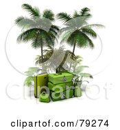 Stack Of 3d Green Luggage Under Palm Trees