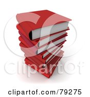 Royalty Free RF Clipart Illustration Of A Stack Of 3d Red Literature Text Books