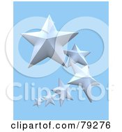 Royalty Free RF Clipart Illustration Of A Curving Line Of White 3d Stars by Frank Boston