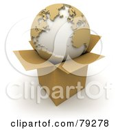 Royalty Free RF Clipart Illustration Of A 3d World Globe Resting On A Small Cardboard Box