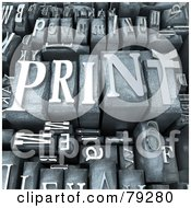 Royalty Free RF Clipart Illustration Of A 3d Group Of Typeset Blocks With Print In The Center Version 1