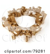Royalty Free RF Clipart Illustration Of A Circle Of 3d Cardboard Parcel Boxes Around A White Platform