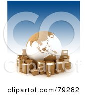 Royalty Free RF Clipart Illustration Of A Cardboard Globe Surrounded By Shipping Boxes Asia