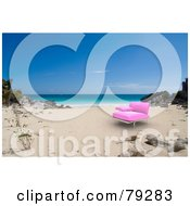 Royalty Free RF Clipart Illustration Of A 3d Pink Modern Beach Chair On A Sandy Tropical Shore