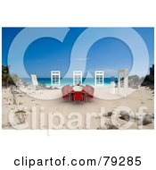 Royalty Free RF Clipart Illustration Of A Red 3d Conference Table And Windows On A Tropical Beach by Frank Boston