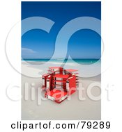 Royalty Free RF Clip Art Illustration Of A Group Of Red 3d Ring Archive Binders On A Tropical Beach by Frank Boston