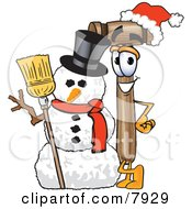 Mallet Mascot Cartoon Character With A Snowman On Christmas