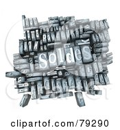Royalty Free RF Clipart Illustration Of A 3d Group Of Typeset Blocks With SOLDES In The Center