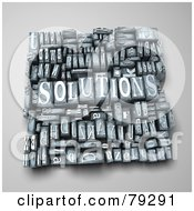 Royalty Free RF Clipart Illustration Of A 3d Group Of Typeset Blocks With SOLUTIONS In The Center Version 1