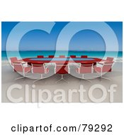 Royalty Free RF Clipart Illustration Of A Red 3d Conference Table On A Tropical Beach by Frank Boston