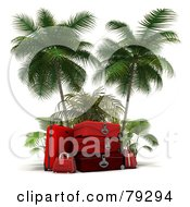 Royalty Free RF Clipart Illustration Of A Stack Of 3d Red Luggage Under Palm Trees