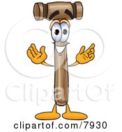 Clipart Picture Of A Mallet Mascot Cartoon Character With Welcoming Open Arms by Toons4Biz