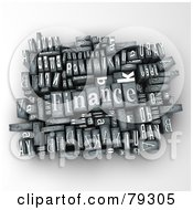 Royalty Free RF Clipart Illustration Of A 3d Group Of Typeset Blocks With FINANCE In The Center