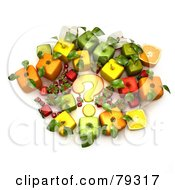Group Of 3d Cubic Genetically Modified Fruits Around A Yellow Question Mark