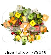 Group Of 3d Cubic Genetically Modified Fruits Around An Orange Question Mark - Version 1