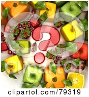 Royalty Free RF Clipart Illustration Of A Group Of 3d Cubic Genetically Modified Fruits Around A Red Question Mark Version 1 by Frank Boston