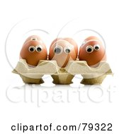 Royalty Free RF Clipart Illustration Of A 3d Egg Carton With Organic Egg Faces