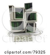 Royalty Free RF Clipart Illustration Of A 3d Pile Of Retro Computers With Green Text