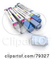 Royalty Free RF Clipart Illustration Of A Group Of Felt Tip 3d Markers Version 1