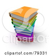 Royalty Free RF Clipart Illustration Of A Stack Of 3d Colorful Literature Text Books Version 1