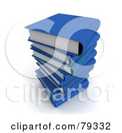 Royalty Free RF Clipart Illustration Of A Stack Of 3d Blue Literature Text Books