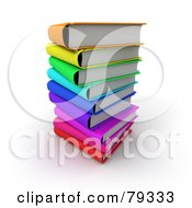 Royalty Free RF Clipart Illustration Of A Stack Of 3d Colorful Literature Text Books Version 2
